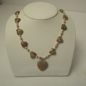 Jasper Heart and Pretty Pearl Necklace